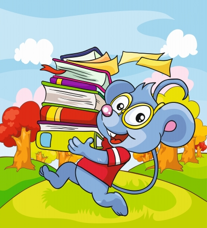 Mouse with books on a colored background, vector illustration Illustration
