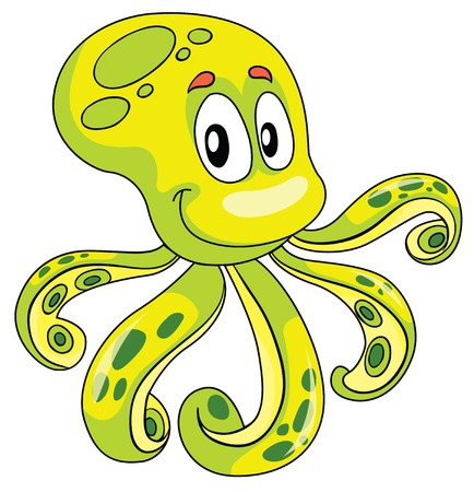 cartoons animals: funny octopus, vector illustration on white background