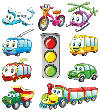 public transport with fase, set , vector illustration on white background Illustration