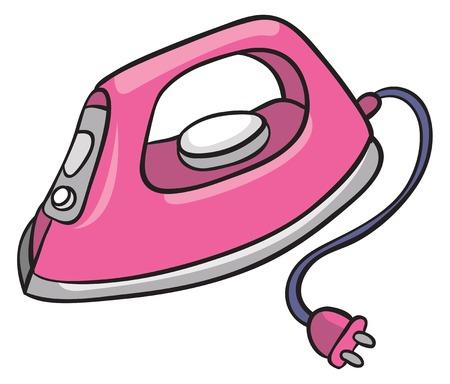 fer à repasser électrique rose, illustration vectorielle sur fond blanc