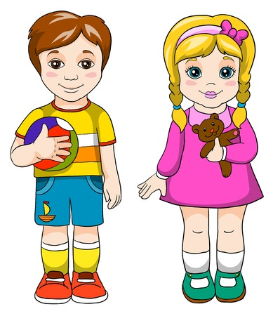 brother and sister, vector illustration on white background