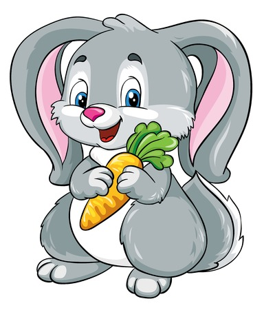 cute bunny with carrot on a white background, vector illustration Vector
