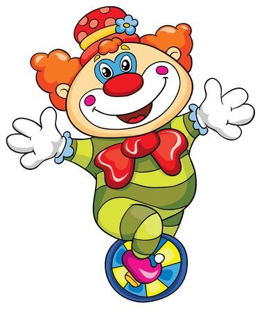 clown cirque: Drôle de clown sur un fond blanc, illustration vectorielle Illustration