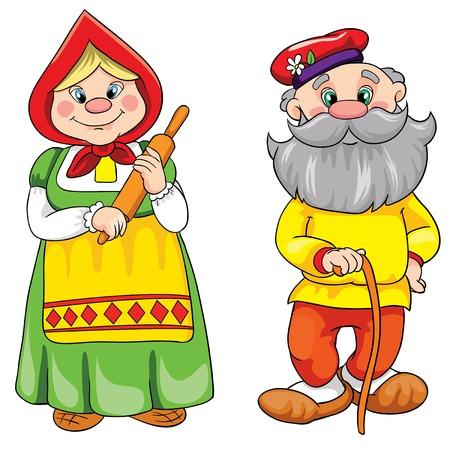 hombres maduros: Abuelos felices dentro de la silueta de nabo