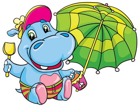 hipopotamo caricatura: Hipopótamo con un paraguas verde, pala y cubo, ilustración vectorial