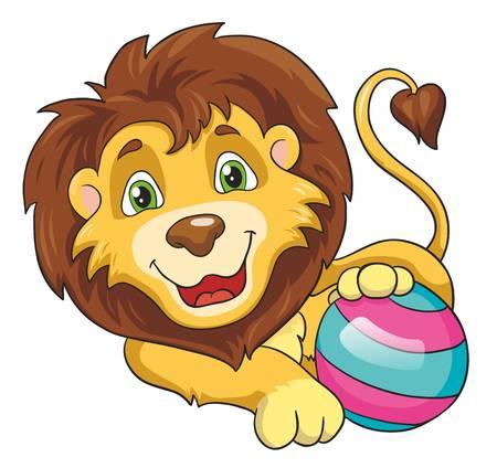 Leeuw met een bal op een witte achtergrond, vector illustratie