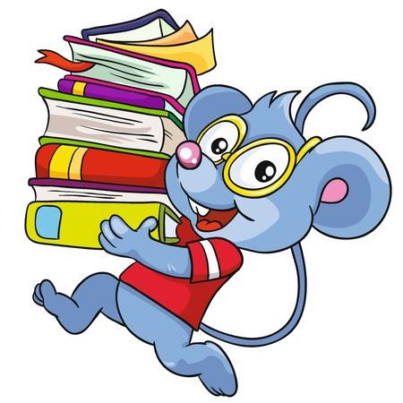 Mouse with books on a white background, vector illustration Illustration