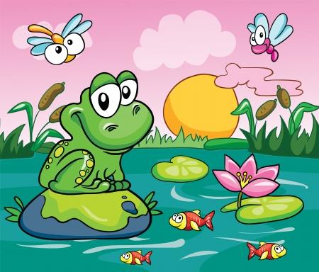 カエル、沼地のベクトルに色付きの背景イラスト
