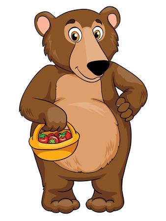 Bear with a basket, vector illustration on white background