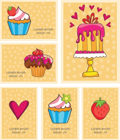 card with strawberries, cake and heart, vector illustration