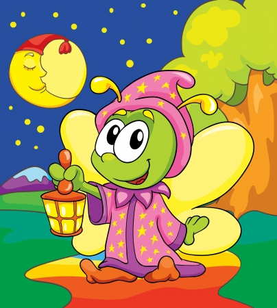 firefly in pajamas on colored background, vector illustration