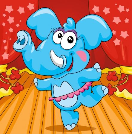 elephant ballerina on colored background, vector illustration