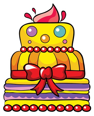 cake with red bow on a stand, vector illustration on white background
