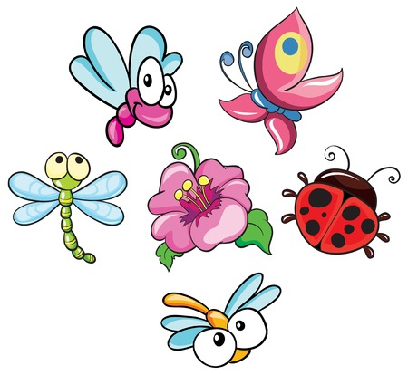 set of insect vector illustration on white background