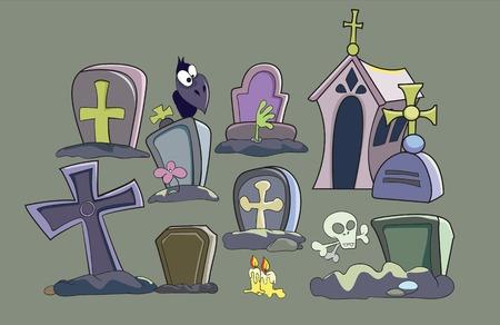 墓地を設定、灰色の背景のベクトル図