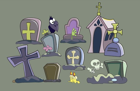 cemetery set, vector illustration on gray background Vector