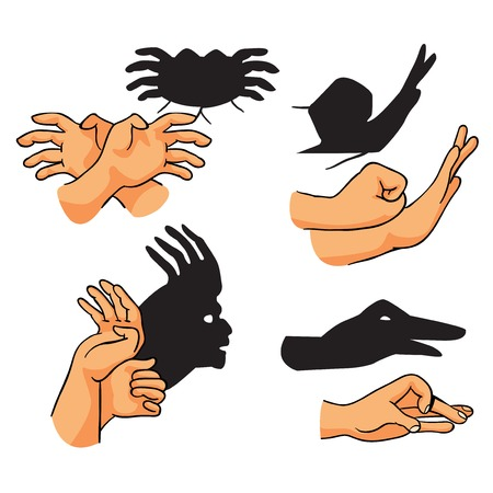 hand shadows theater, set, vector illustration on white background