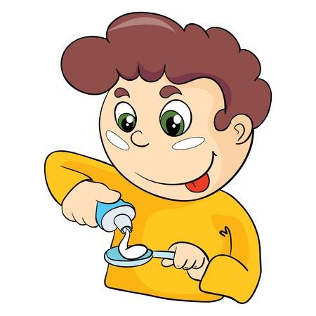 歯ブラシ、白い背景の上のベクトル図を持つ男  イラスト・ベクター素材