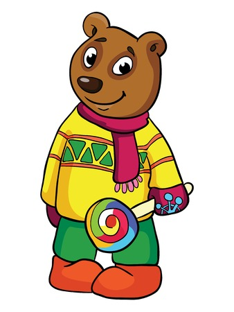 bear with lollipop, vector illustration on white background Illustration