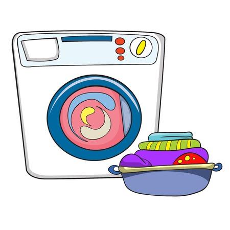 washing machine and wash with laundry vector illustration on white background