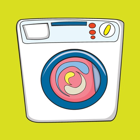 washing machine, vector illustration on green background