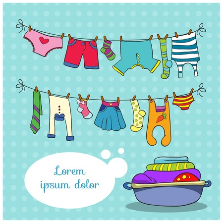 drying: Linen on the rope, vector illustration on colorful background with space for text