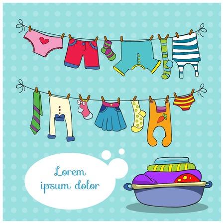 ropa colgada: Ropa de cama en la cuerda, ilustración vectorial sobre fondo de colores con espacio para el texto Vectores