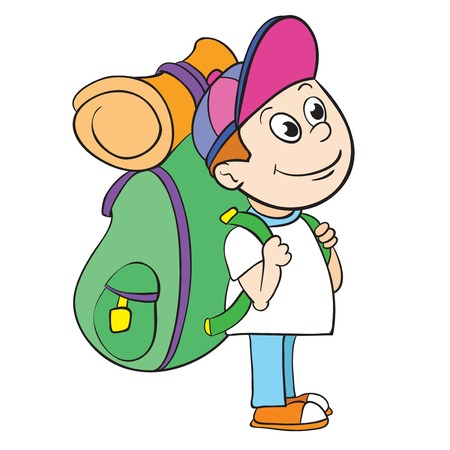 tourist with a backpack, vector illustration on white background Illustration
