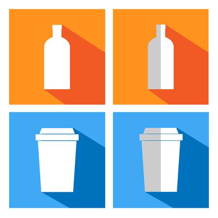 distribution automatique: ic�nes plates pour des tasses de caf� et des bouteilles. distributeur de caf�