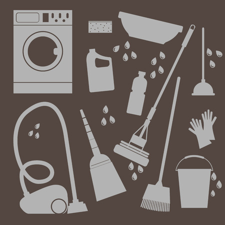 whisk broom: set of icons Household cleaning and laundry Illustration Illustration