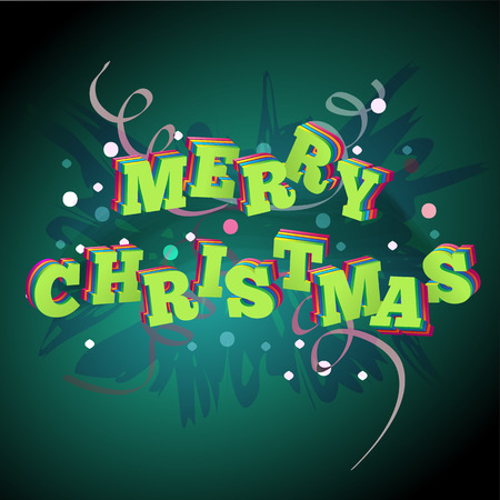 Christmas 3d on a green background . Vector Vector