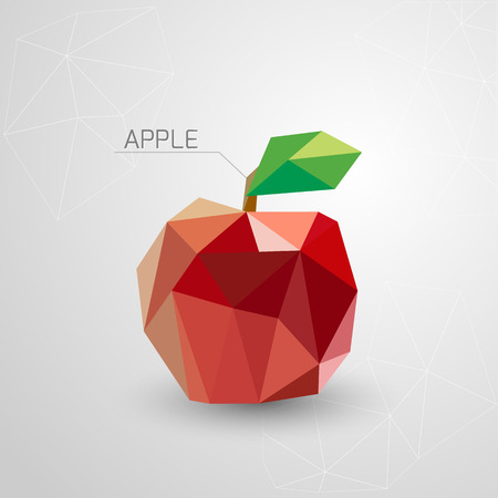 two dimensional: Juicy apple polygon . Vector illustration