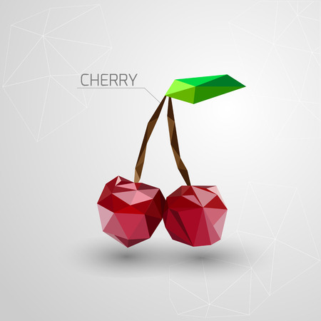 two dimensional shape: Bright cherry polygon . Vector illustration Illustration