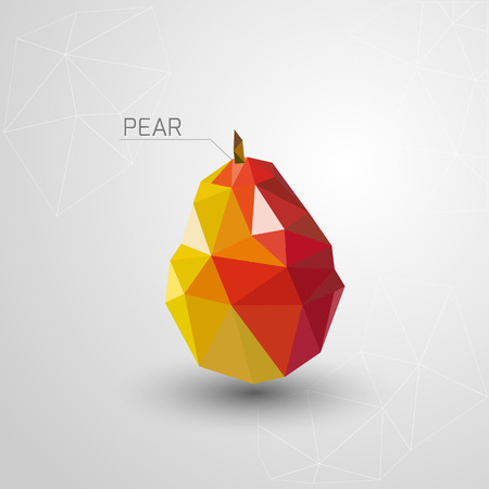 two dimensional: Juicy pear polygon . Vector illustration
