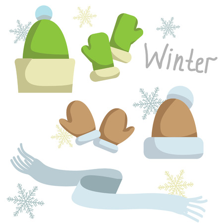 muff: Set of winter clothing. Hat , mittens and scarf. Vector illustration