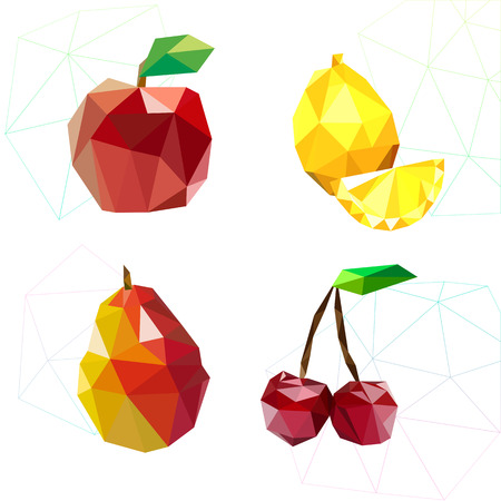 two dimensional shape: Set of juicy fruit polygon . Apple, lemon , cherry and pear. Vector illustration Illustration