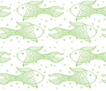 Seamless pattern of fish. Vector illustration . Vector