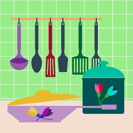 Set of kitchen utensils , pots and pans . Vector illustration