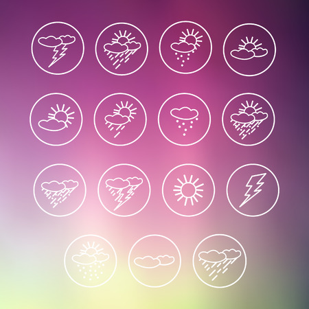 blockhead: Set of icons of weather symbols on a color background. Vector illustration Illustration