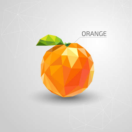 two dimensional: Juicy polygon orange. Vector illustration Stock Photo