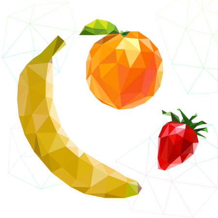 two dimensional shape: Fruit set of polygons . Banana, orange, strawberry. Vector illustration Stock Photo