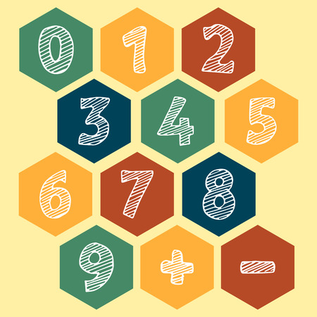 0 6: Illustration of the drawn numbers. Icons white numbers on a color background: 1, 2, 3, 4, 5, 6, 7, 8, 9, 0. Vector