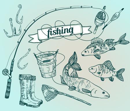 El vector dibujado establece: la pesca. Rod, el salmón, la perca, el cubo, anzuelos de pesca, red, flotador, botas de goma. Ilustración vectorial