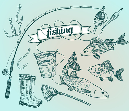 The drawn vector set: fishing. Rod, salmon, perch, bucket, fishing hooks, net, float, gumboots. Vector illustration Illustration