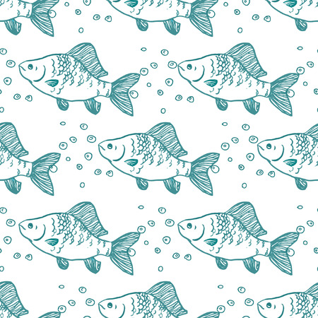 Seamless pattern fish. Perch. Vector illustration Vector