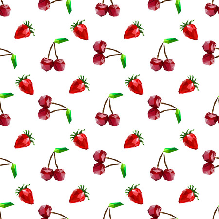 two dimensional: Seamless pattern strawberry and cherry. Polygon fruit. Vector illustration