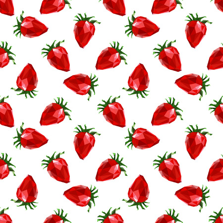 two dimensional: Seamless pattern strawberry. Polygon fruit. Vector illustration