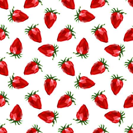Seamless pattern strawberry. Polygon fruit. Vector illustration