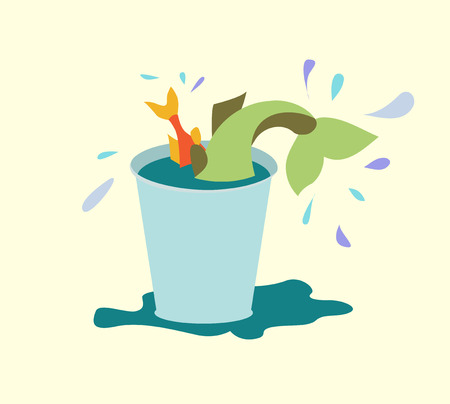 catch: Flat design. Catch, fishing, bucket. Vector illustration Illustration