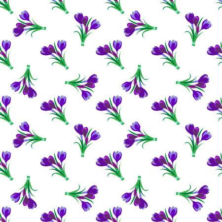 Seamless spring pattern. Crocus, saffron, lily of the valley, snowdrops. Flet design. Vector illustration